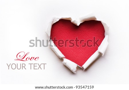 red paper with heart curled corner and shadow template for your design set vector illustration stock photo © olehsvetiukha