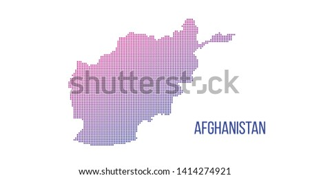 Afghanistan map. Vector halftone composition made out of squares. Vector illustration isolated on wh Stock photo © kyryloff