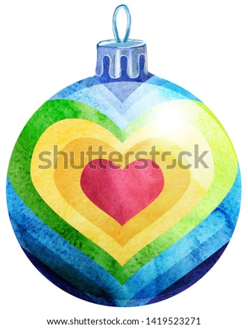 Stock photo: Watercolor rainbow Christmas ball isolated on a white background.