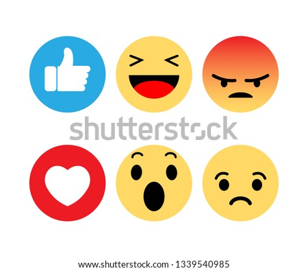 Abstract funny flat style emoji emoticon reactions color icon set Stock photo © MarySan