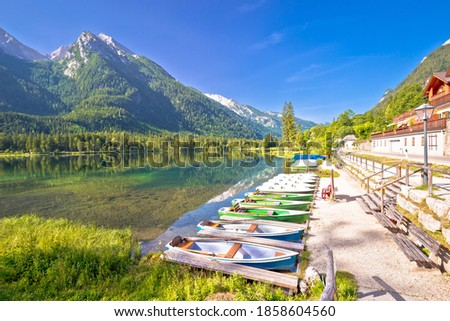 Stock photo: Colorful boats on Hintersee lake in Berchtesgaden Alpine landsca