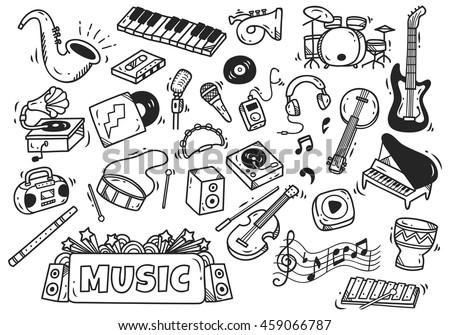 Cartoon cute doodles hand drawn Music illustration. Funny raster artwork Stock photo © balabolka