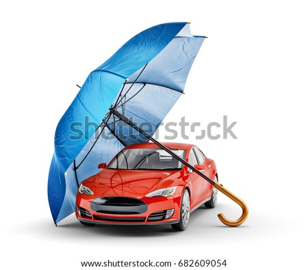 Red car with shield on white background. Isolated 3D illustratio Stock photo © ISerg