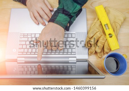 Work Gloves, Level Next To Contractor Pointing and Reviews Proje Stock photo © feverpitch