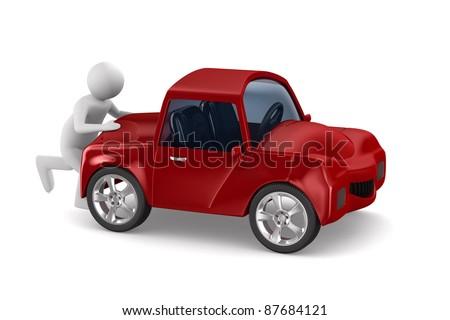 Man kapotte auto witte geïsoleerd 3D 3d illustration Stockfoto © ISerg