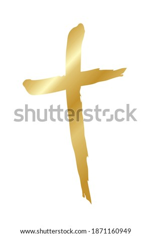 Handdrawn ink christian cross symbol, hand painted with ink brush. Vector illustration isolated on w Stock photo © kyryloff