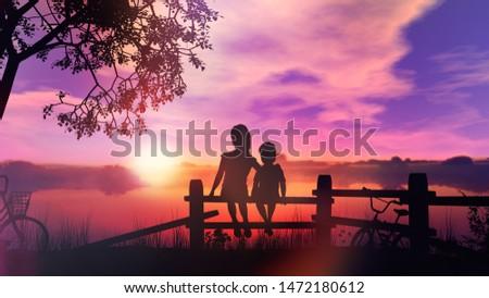Kinderen fiets vergadering hek achtergrond zomer Stockfoto © ConceptCafe