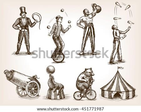 Circus ingesteld dieren geïsoleerd illustratie meisje Stockfoto © bluering