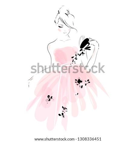trouwjurk · bruid · silhouet · bruiloft · illustratie · witte - stockfoto © frimufilms