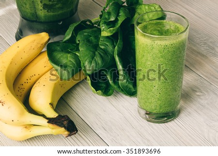 Green smoothies of spinach and banana on the background of the pool. Healthy food, healthy smoothies Stock photo © galitskaya