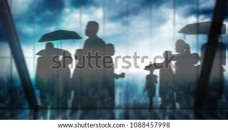 Silhouette of group of people with umbrellas over windows transition Stock photo © wavebreak_media