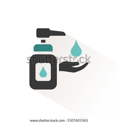 sanitizer soap flat icon with beige shade pharmacy and medicine vector illustration stock photo © imaagio