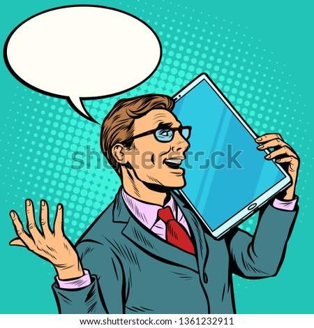 üzletember beszél telefon nagy képernyő tabletta Stock fotó © studiostoks
