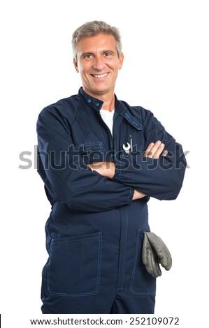 Gelukkig volwassen technicus auto onderhoud dienst Stockfoto © pressmaster