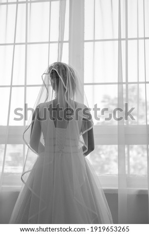 bájos · menyasszony · áll · ablak · lány · szoba - stock fotó © ruslanshramko