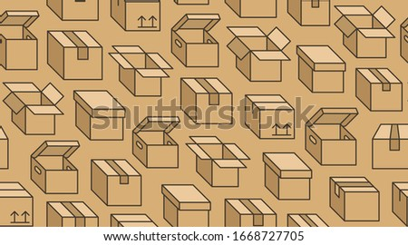 Seamless background from a set of cardboard boxes, vector illustration. Stock photo © kup1984