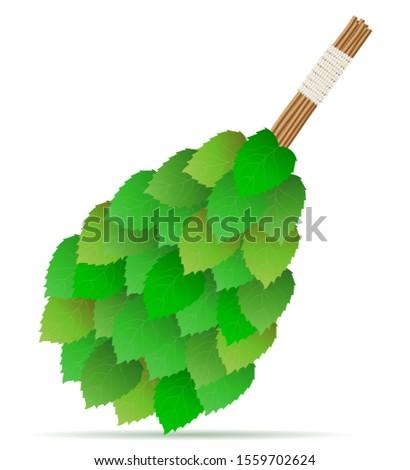 broom made of birch branches for a bath or sauna vector illustra Stock photo © konturvid