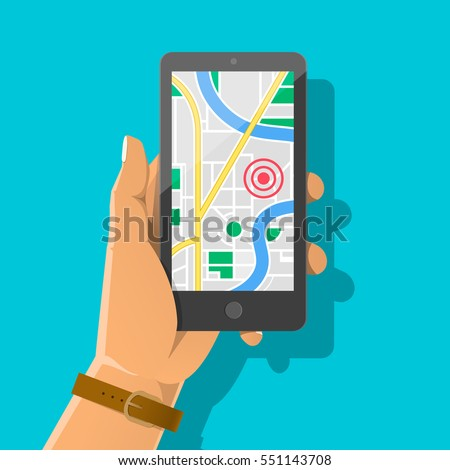 Hand holds smartphone with city map gps navigator on smartphone screen. Mobile navigation concept. M Stock photo © benzoix
