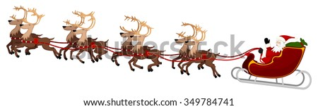 Kerstman vlucht rendier slee christmas nacht Stockfoto © hittoon