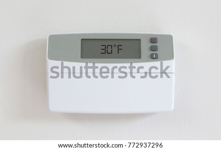 Vintage digital thermostat - Covert in dust - 30 degrees celcius Stock photo © michaklootwijk