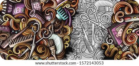 Hair salon hand drawn doodle banner. Cartoon detailed illustrations. Stock photo © balabolka