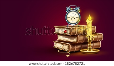 Classic Alarm clock on pile stack of paper books banner design Stock photo © LoopAll