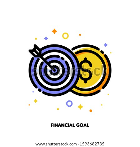Icon of globe and arrow in center of board for financial goal Stock photo © ussr