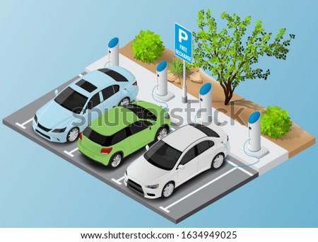 Elektryczne pojazd stacja wolna parking miejsce Zdjęcia stock © amok