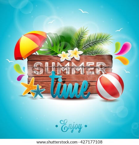 Summer Time Illustration With Sunshade Beach Ball And Sunglasses On Sun Yellow Background Vector T Stok fotoğraf © articular