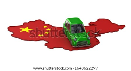 Map china and green car on white background. Isolated 3D illustr Stock photo © ISerg