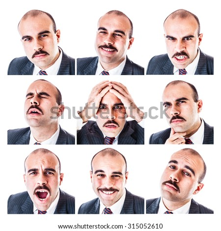 Bald man with different facial expressions. Emotions and expressions avatar set. Cartoon vector illu Stock photo © ukasz_hampel