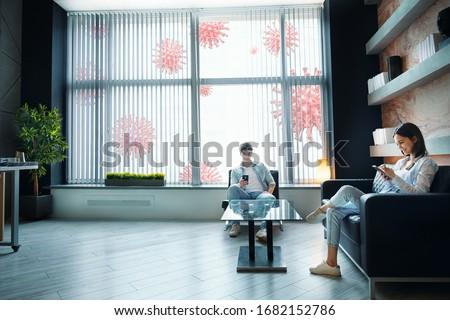 Man On Coronavirus Quarantine Using Disinfection Stock photo © AndreyPopov