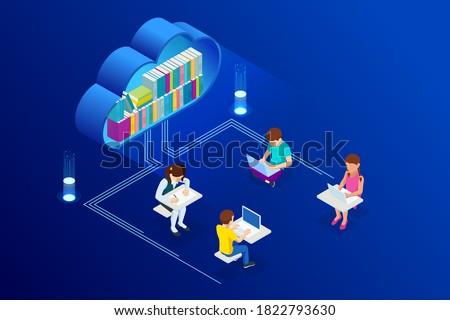 On-line educação moderno isométrica vetor teia Foto stock © Decorwithme