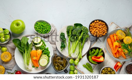 Plant based protein. Raw fresh chickpeas on grey background. Organic food. Ready to eat. Healthy nut Stock photo © vkstudio