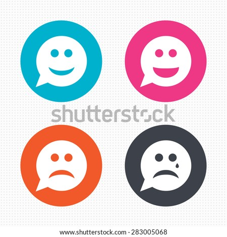 Sad face sign icon. Sadness depression chat symbol. Speech bubble. Circle flat button with shadow. M Stock photo © kyryloff