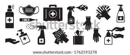 Face mask with sanitizer gel, alcohol hand wipes on white background with thermometer and pills. Bes Stock photo © DenisMArt