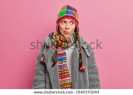 изображение девушки зима Hat шарф Сток-фото © deandrobot