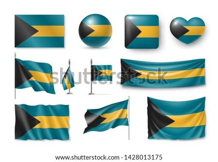Vector ingesteld vlag Bahamas creatieve Stockfoto © butenkow