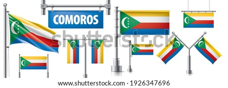 Vector set of the national flag of Comoros in various creative designs Stock photo © butenkow