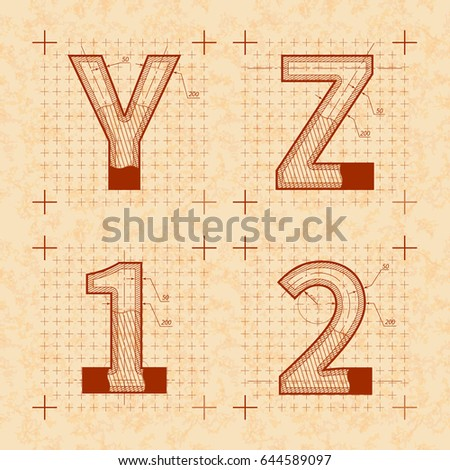 Medieval inventor sketches of Y Z 1 2 letters. Retro style font on old textured paper Stock photo © evgeny89