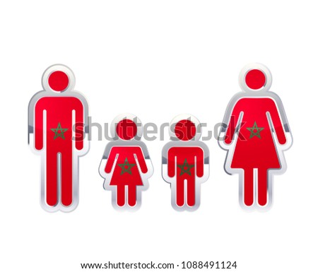 Glossy metal badge icon in man, woman and childrens shapes with Madagascar flag, infographic element Stock photo © evgeny89