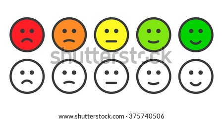 Face emoticons for rate of satisfaction level, five simple gray grade smileys on white Stock photo © evgeny89