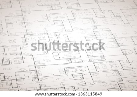 Complicated house floor plan with interior details on construction blueprint scheme on white in pers Stock photo © evgeny89