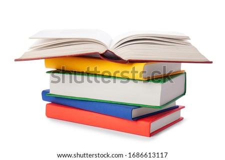 Köteg különböző színes tankönyvek boglya izolált Stock fotó © evgeny89