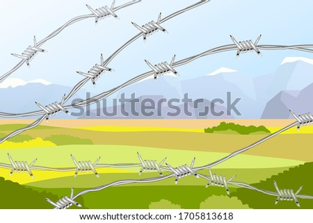 Several lines of realistic barbed wire on landscape with fields and mountains Stock photo © evgeny89