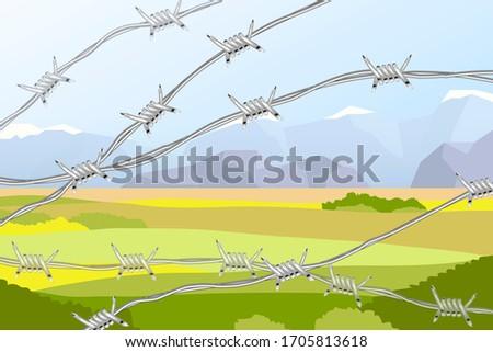 несколько линия реалистичный колючую проволоку пейзаж полях Сток-фото © evgeny89