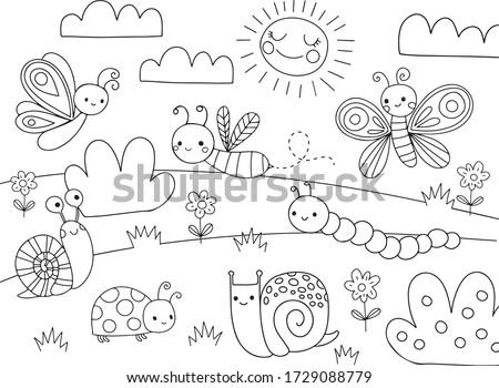 Pagina schets cartoon slak kleurboek kinderen Stockfoto © natali_brill