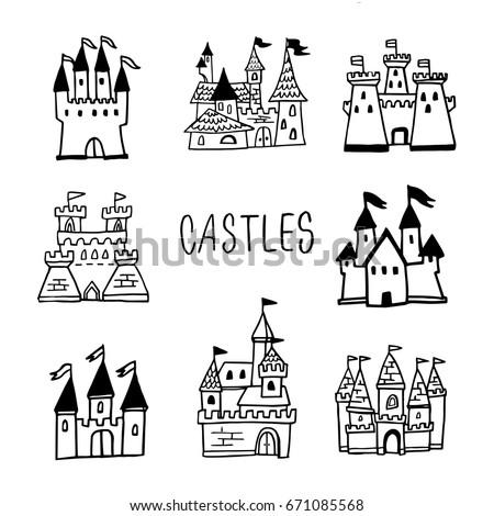 Bajki zamek wieża cartoon stylu biały Zdjęcia stock © bluering