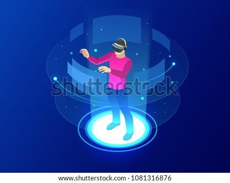 искусственный интеллект изометрический икона вектора знак цвета Сток-фото © pikepicture