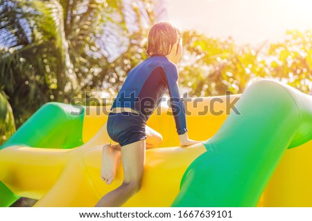 Cute garçon gonflable piscine bannière Photo stock © galitskaya